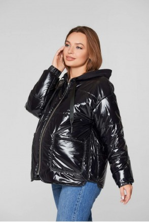 Демисезонная лаковая куртка Zaragoza черный для беременных
