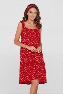 Платье Maldives шёлковое для беременных и кормления Красное в цветок