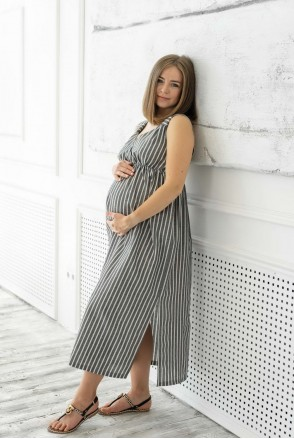 Льняной сарафан San Diego серый в белую полоску для беременных и кормления