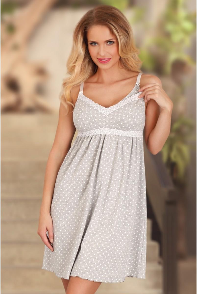 Ночная рубашка 1691 сіра в білий горошок для вагітних і годування