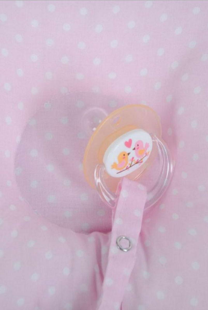 Детская подушка для новорожденных с держателем горошек на розовом