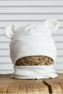 Набір шапка з манишкою Bruin молочний