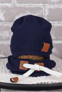 Набір шапочка зі снудом Hills темно-синій