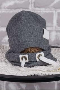 Набір шапочка зі снудом Hills сірий меланж