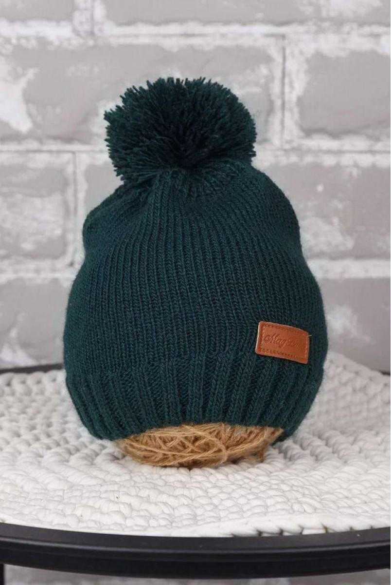 В'язана шапочка Lucky темно-зелений