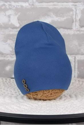 Шапочка с пуговками синяя