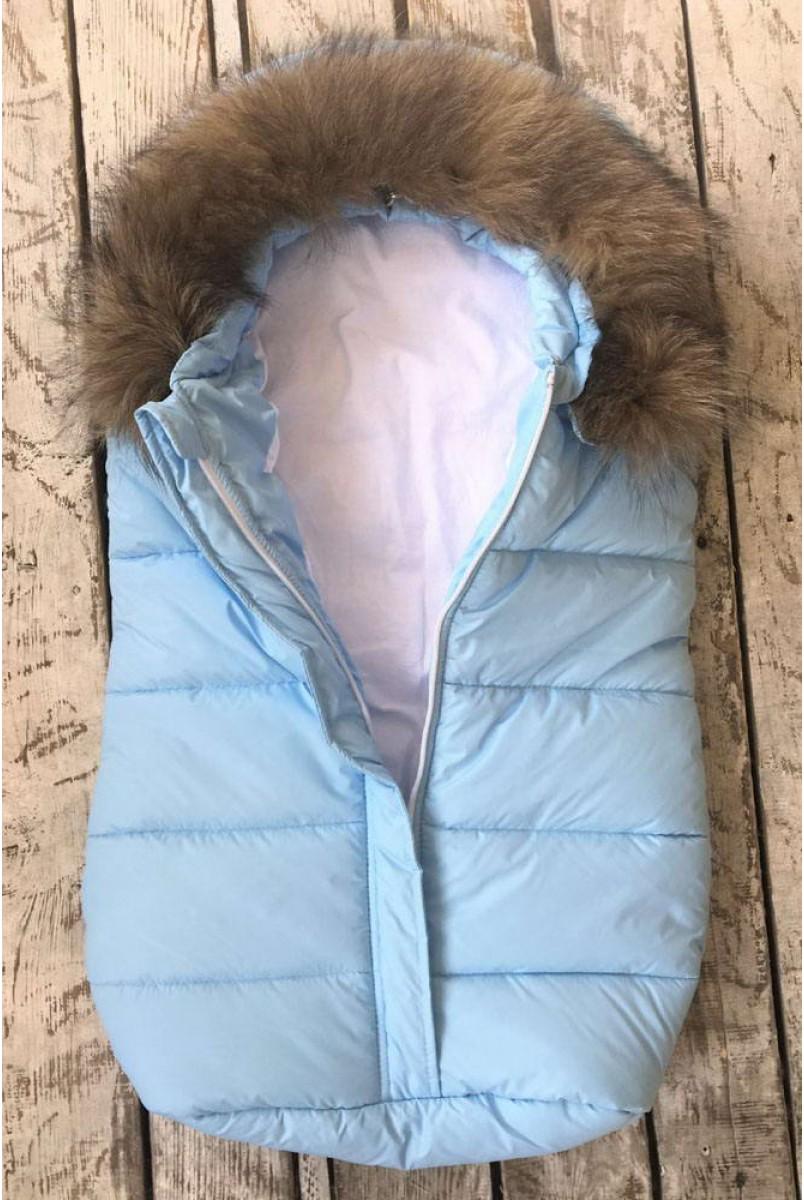 """Зимовий конверт для новонародженого """"Дутик Snowman"""" блакитний"""