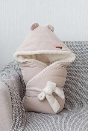 Зимний велюровый конверт-одеяло на махре Velvet бежевый