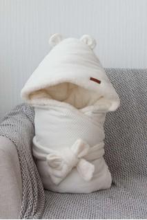 Зимовий велюровий конверт-ковдра на махрі Velvet молочний