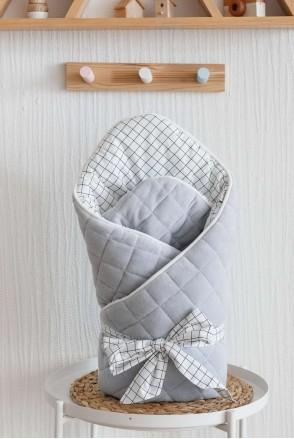 """Демисезонный велюровый конверт-одеяло """"Tessera"""" серый"""
