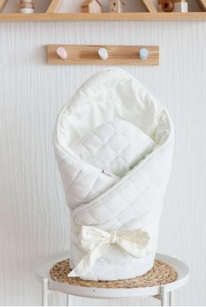 """Демисезонный велюровый конверт-одеяло """"Tessera"""" молочный"""