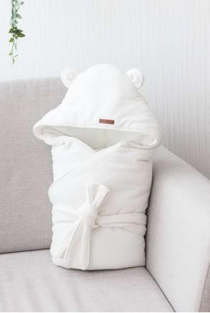 Демисезонный велюровый конверт-одеяло Velvet молочный