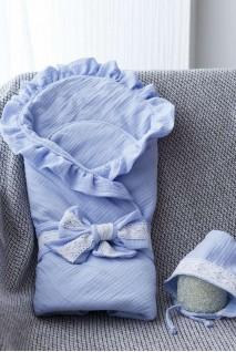 Муслиновый конверт с шапочкой Shery голубой