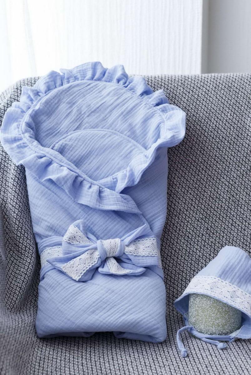 Мусліновий конверт з шапочкою Shery блакитний