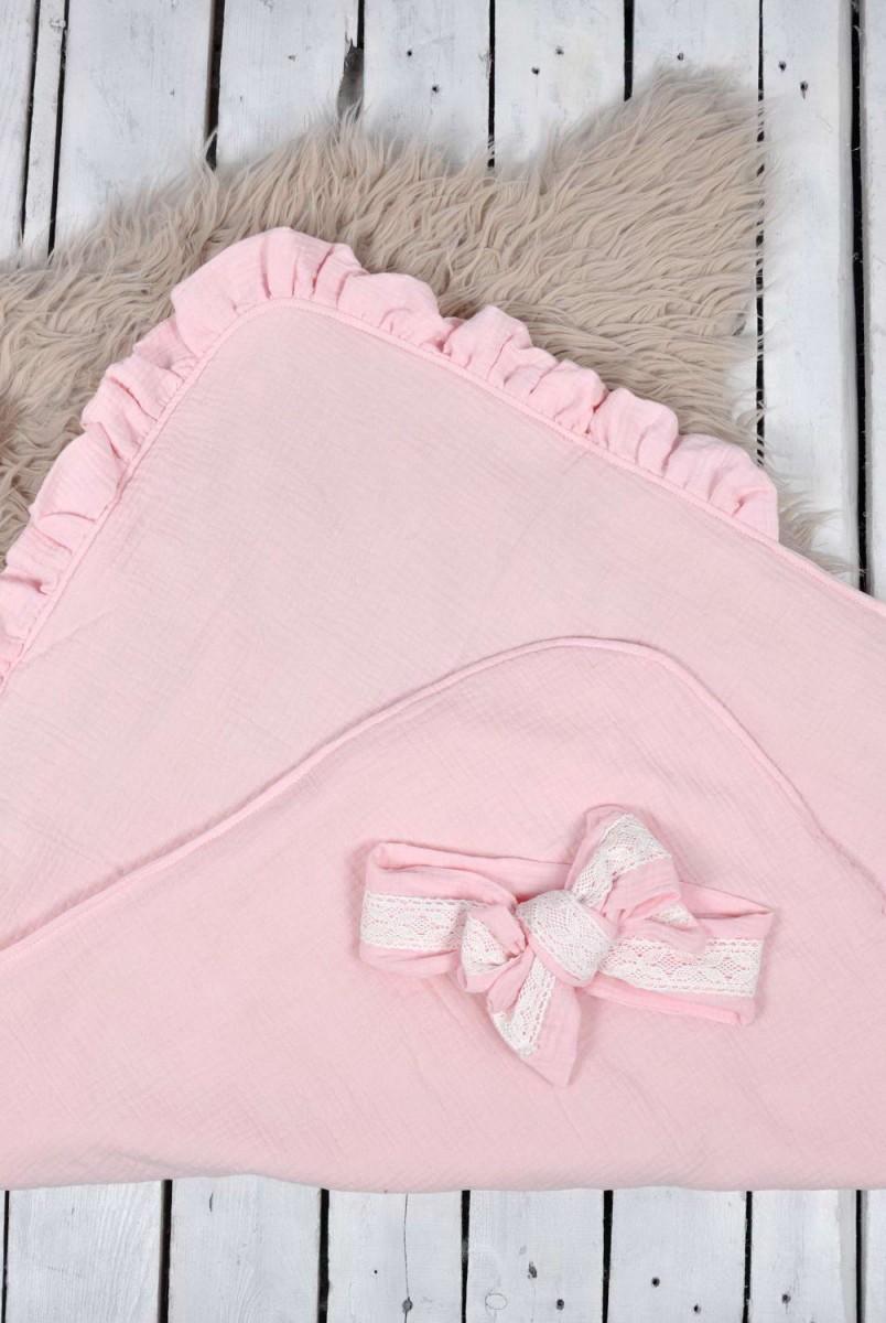 Мусліновий конверт з шапочкою Shery рожевий