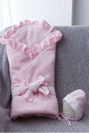 Муслиновый конверт с шапочкой Shery розовый