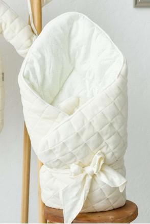 """Демисезонный велюровый конверт-одеяло """"Tessera"""" ванильный"""