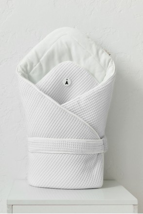 Демисезонный вафельный конверт-одеяло для детей MagBaby Kyle белый
