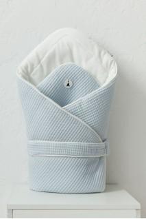 Демісезонний вафельний конверт-ковдра для дітей MagBaby Kyle блакитний