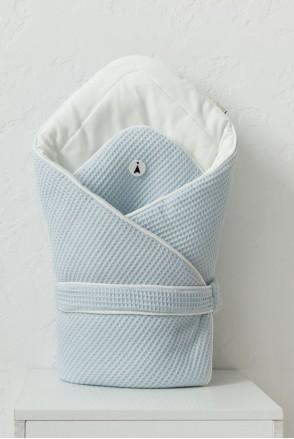 Демисезонный вафельный конверт-одеяло для детей MagBaby Kyle голубой