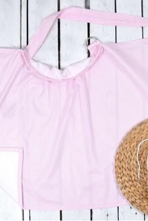 Накидка для кормления + сумочка-чехол Малино-белые полосочки