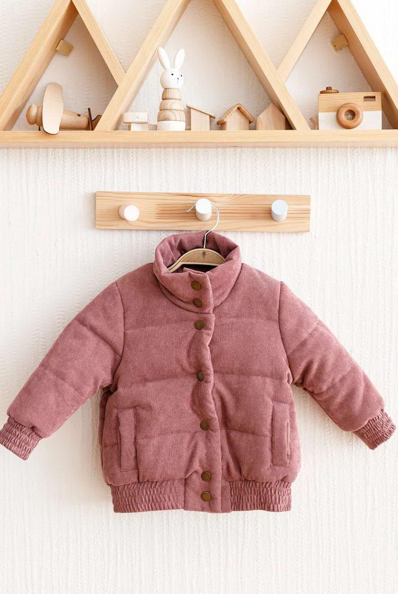 """Демісезонна вельветова куртка бомбер """"Line"""" рожева"""