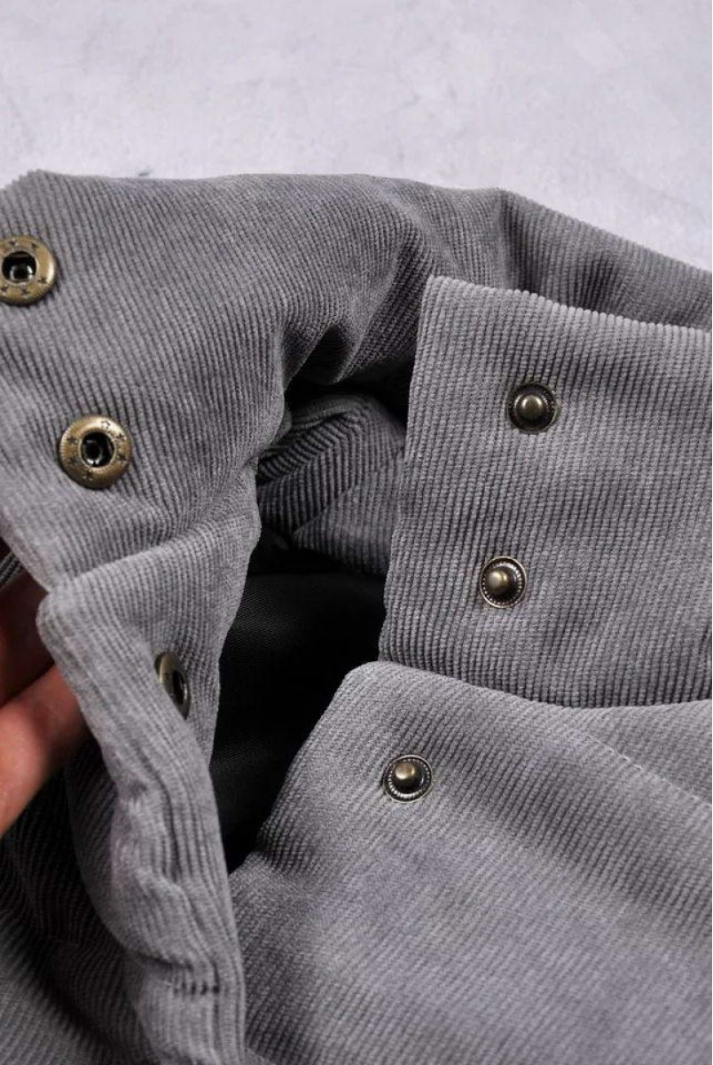"Демісезонна вельветова куртка бомбер ""Line"" сіра"