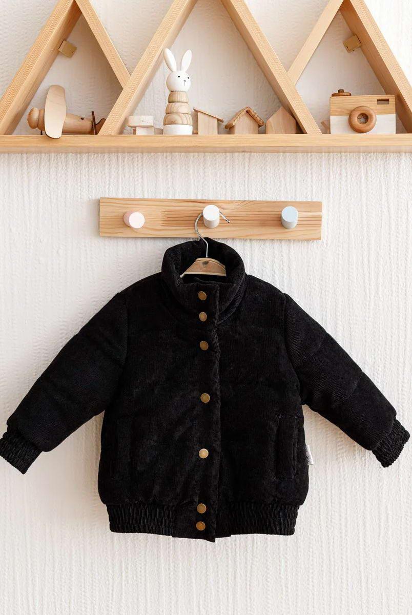 """Демісезонна вельветова куртка бомбер """"Line"""" чорна"""