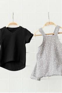 Муслиновый комбинезон с футболкой Mag серо-черный