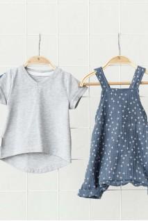 Муслиновый комбинезон с футболкой Mag сине-серый