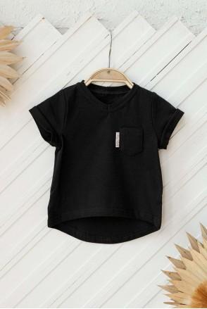 Футболка Simply с карманом черная (1-5 лет)