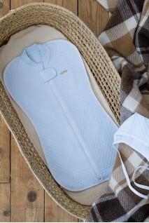 Євро пелюшка кокон утеплена на блискавці + шапочка капітоне ніжно блакитна