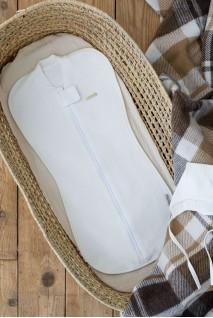 Євро пелюшка кокон утеплена на блискавці + шапочка капітоне молочна