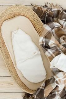 Євро пелюшка кокон утеплена на липучках + шапочка капітоне молочна