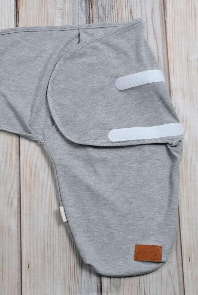 Євро пелюшка кокон на липучках + шапочка Сірий меланж