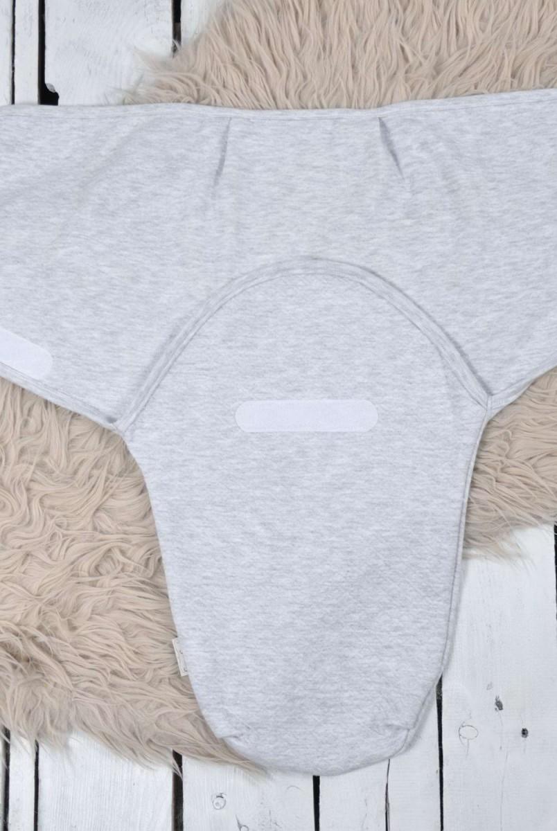 Євро пелюшка кокон утеплена на липучках + шапочка капітоне сіра