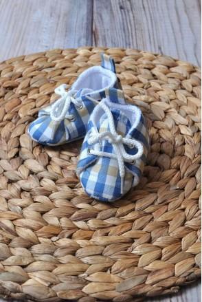 Пинетки хлопковые Сине-песочная клетка