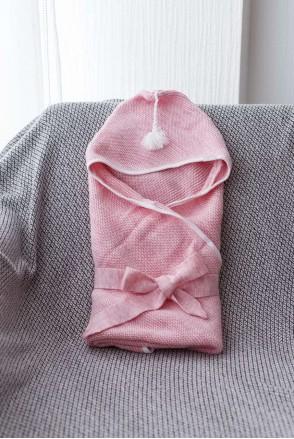 В'язаний конверт-плед з пензликом рожевий меланж