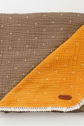 Мусліновий плед Lint коричнево-гірчичний