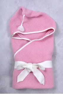 В'язаний конверт-плед з пензликом для новонароджених рожевий