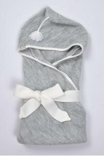 В'язаний конверт-плед з пензликом для новонароджених сірий