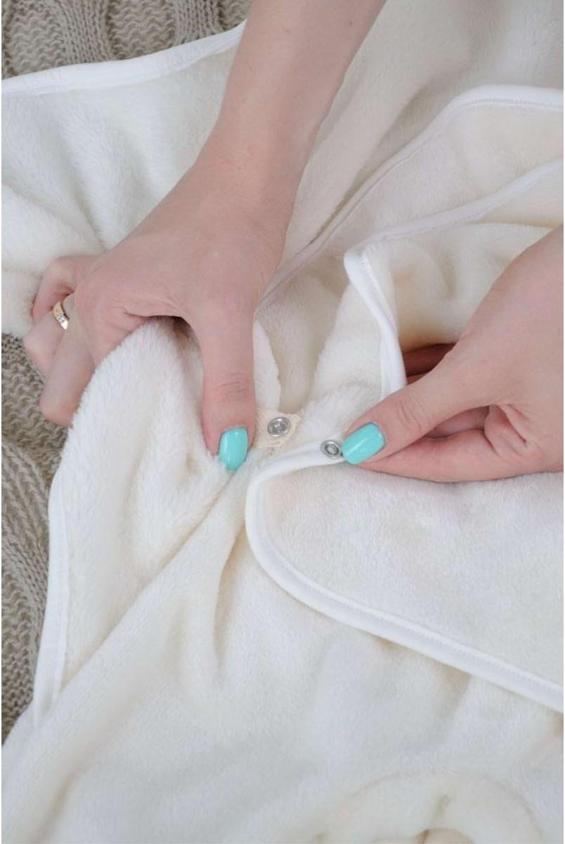 Универсальный махровый спальник-конверт молочный