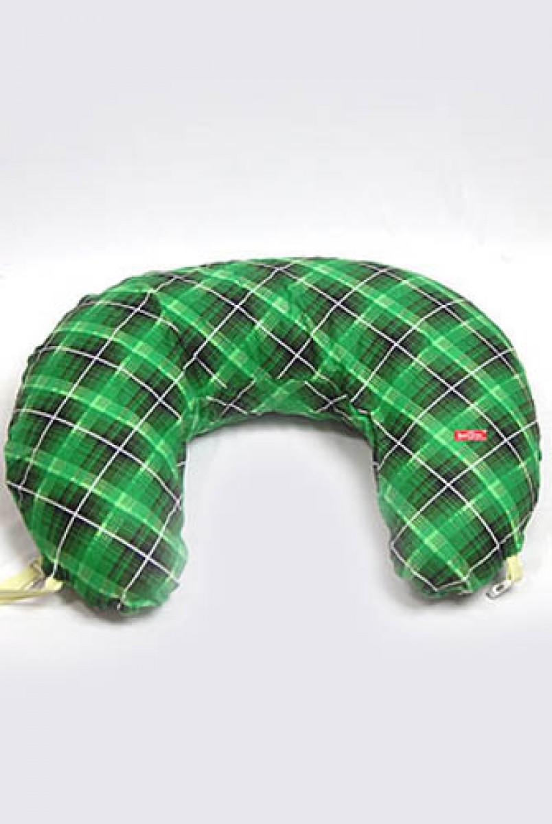 Подушка для кормления Подкова фланель Зеленая клетка