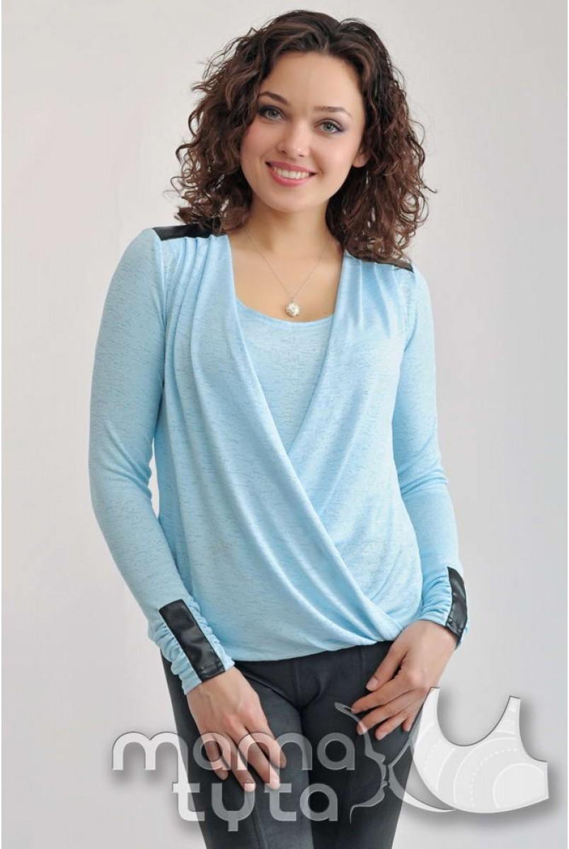 Блузка з шкіряними вставками (ніжно-блакитний) 146.2 для вагітних і годуючих мам