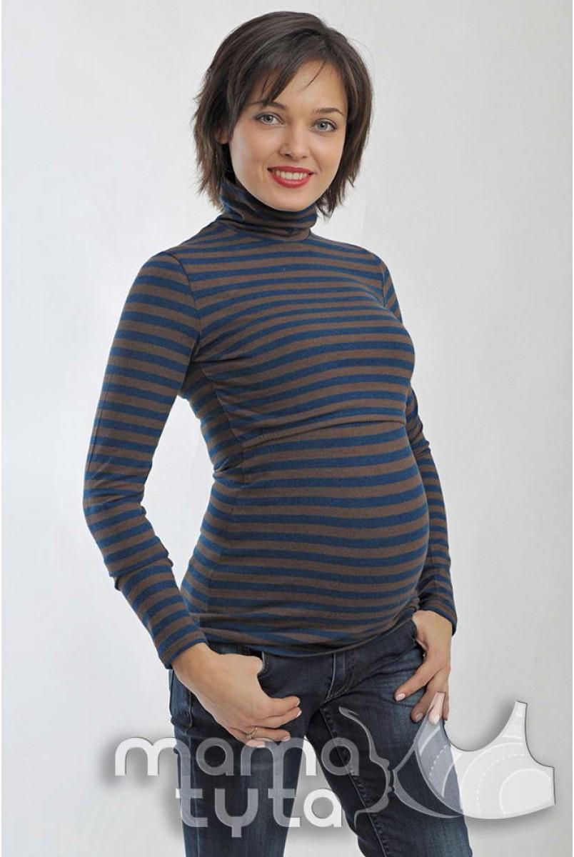 Гольф МИЛА полоска петроль/беж 17.8 для беременных и кормящих