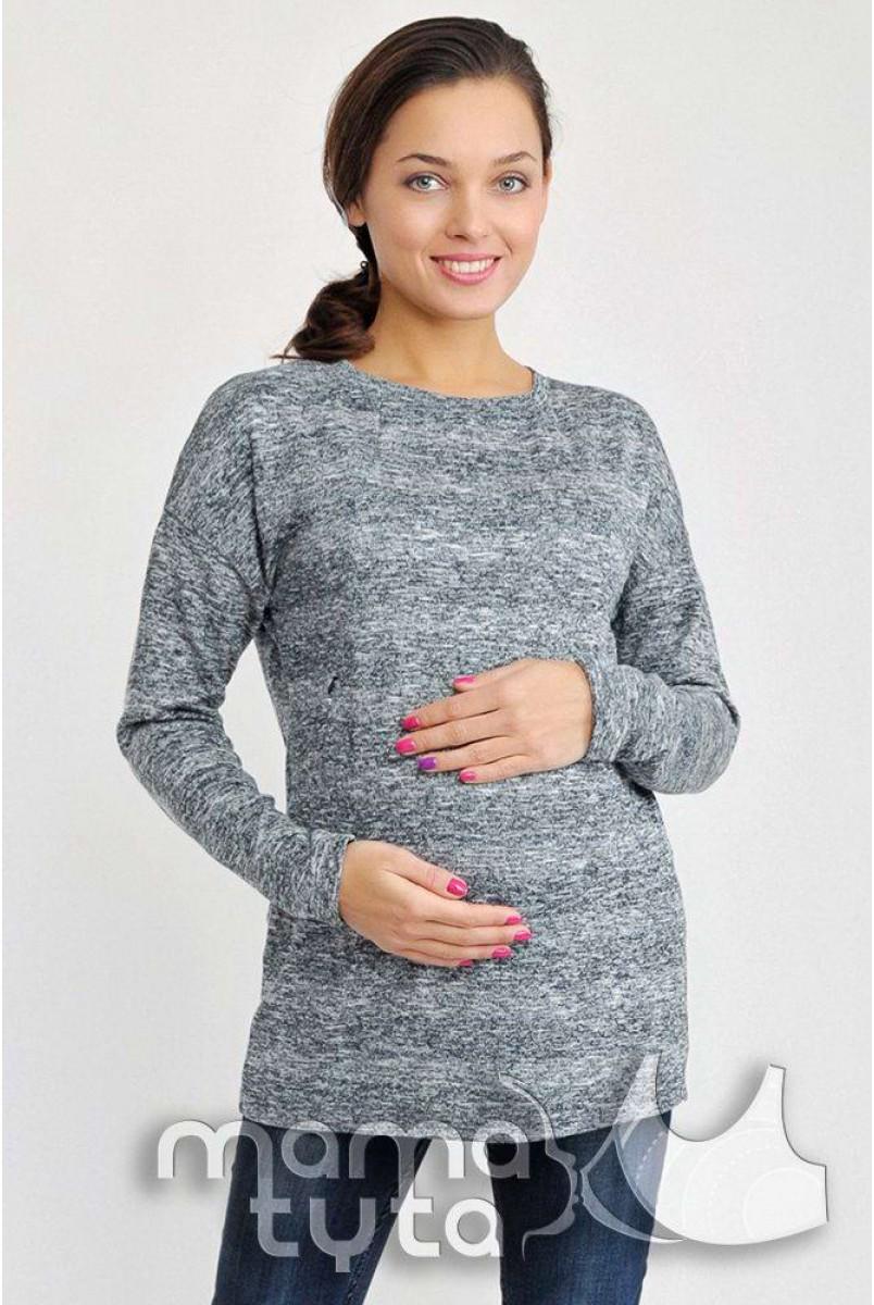 Свитшот ОВЕРСАЙЗ синий меланж А172.1 для беременных и кормящих