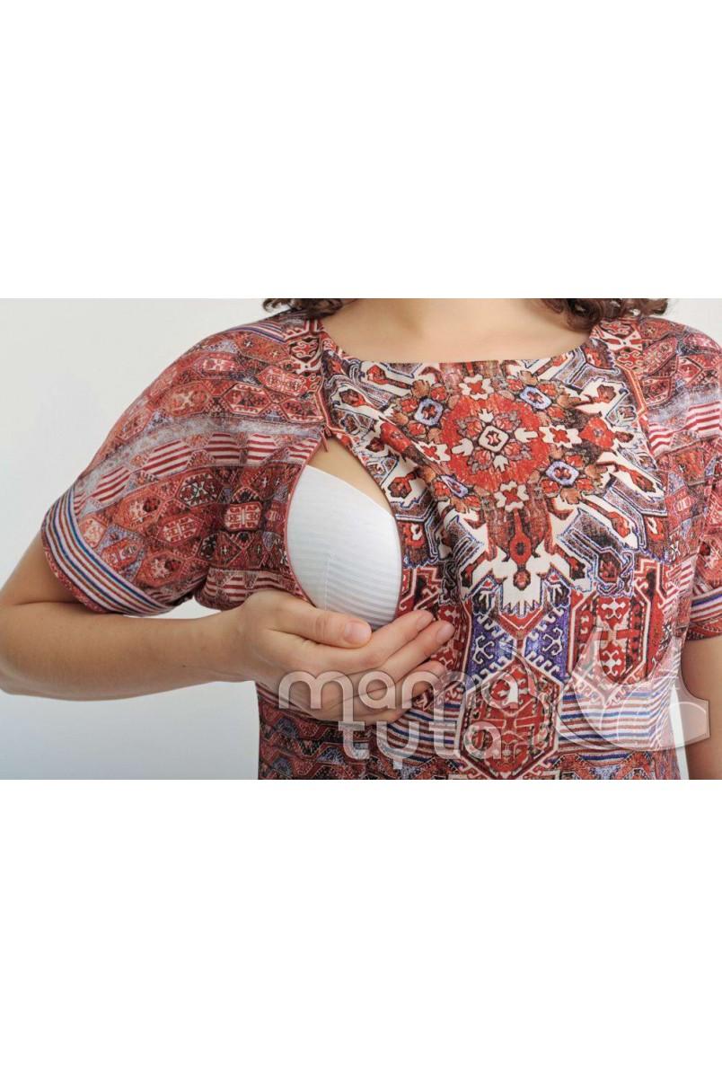 Платье Ориент (орнамент терракот) 140.1 для кормящих мам