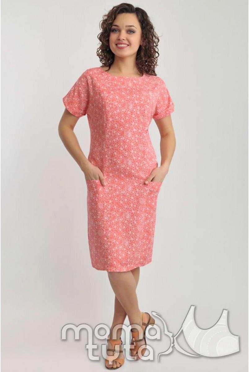 Платье летнее (розовые цветы) 140.3 для кормящих мам