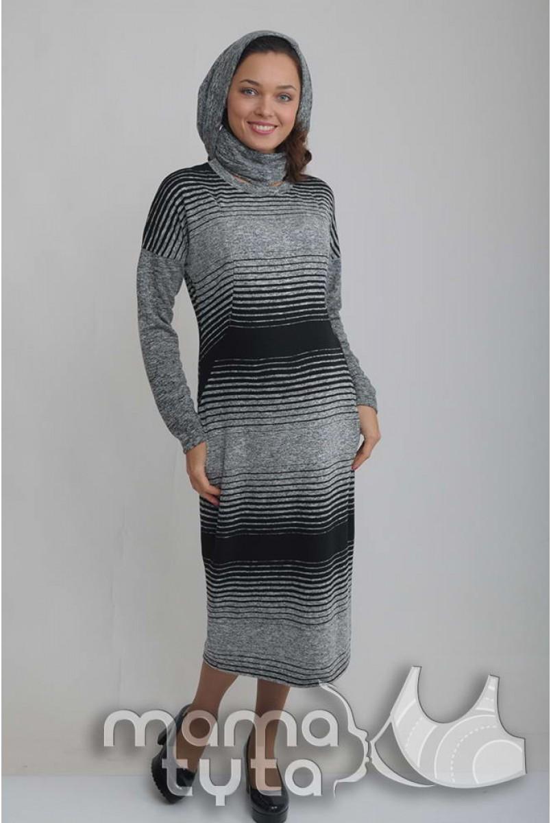 Сукня + снуд СІМОНА сіро-чорний А142.7 для вагітних і годування