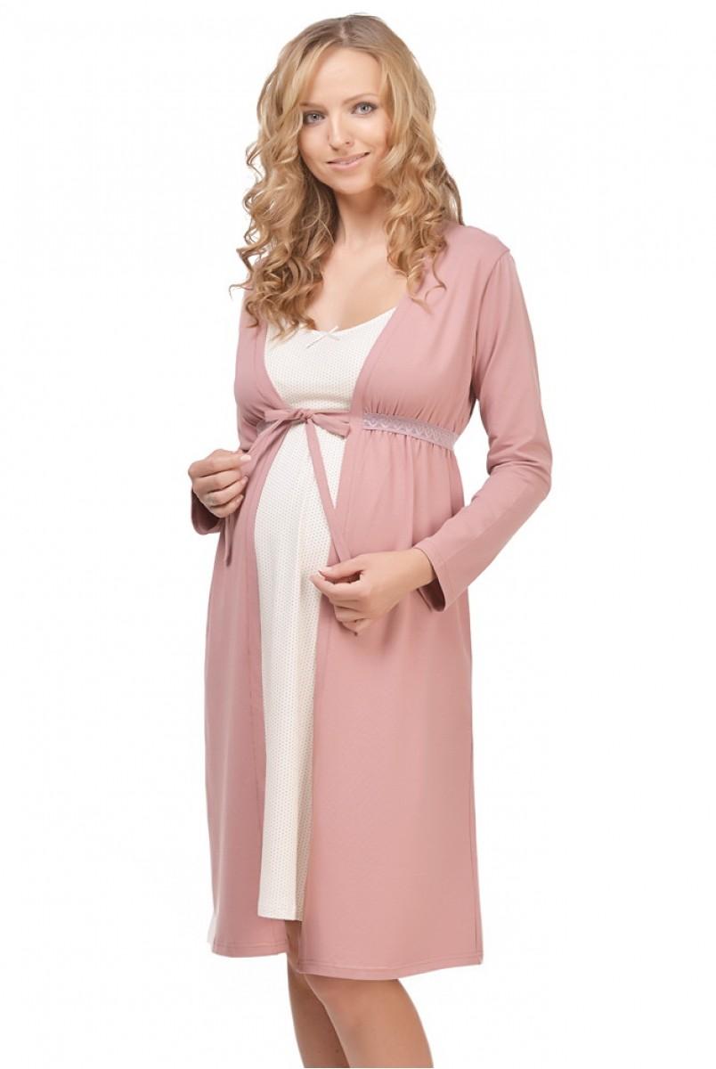 Халат трикотажный Mellow Rose арт. 25303 для беременных и кормящих
